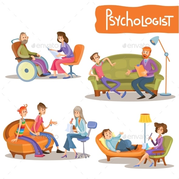 Psychologist Private Practice Cartoon Vector Set - People Characters