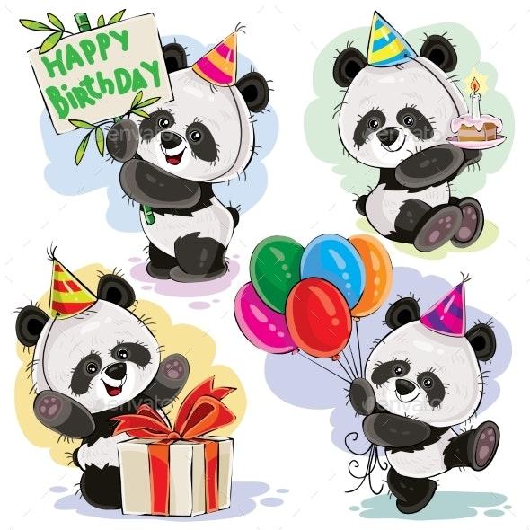 Panda Bear Baby Celebrates Birthday Cartoon Vector By Vectorpocket