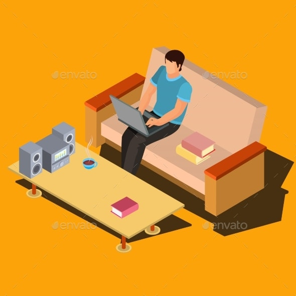 Man Using Laptop on Sofa at Home Isometric Vector - People Characters