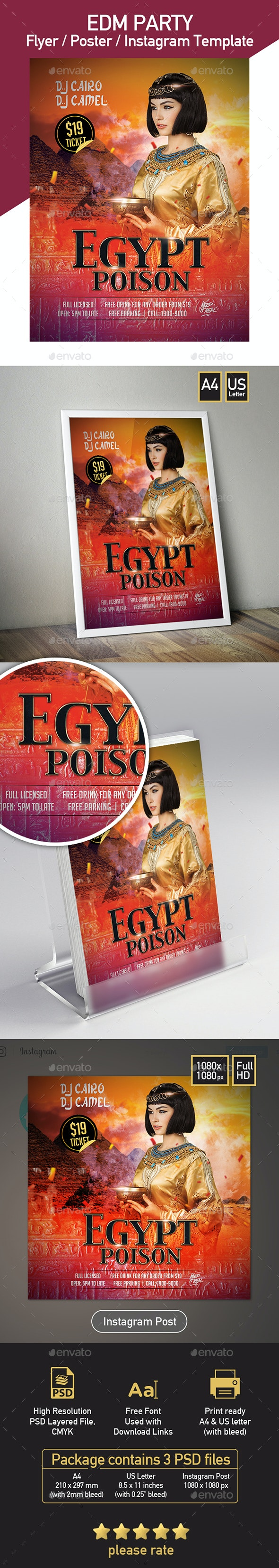 Egypt Night Party - Set of 3 Templates - Clubs & Parties Events