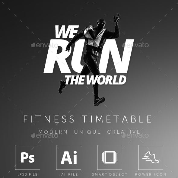 Fitness GYM Group Class Timetable Templates