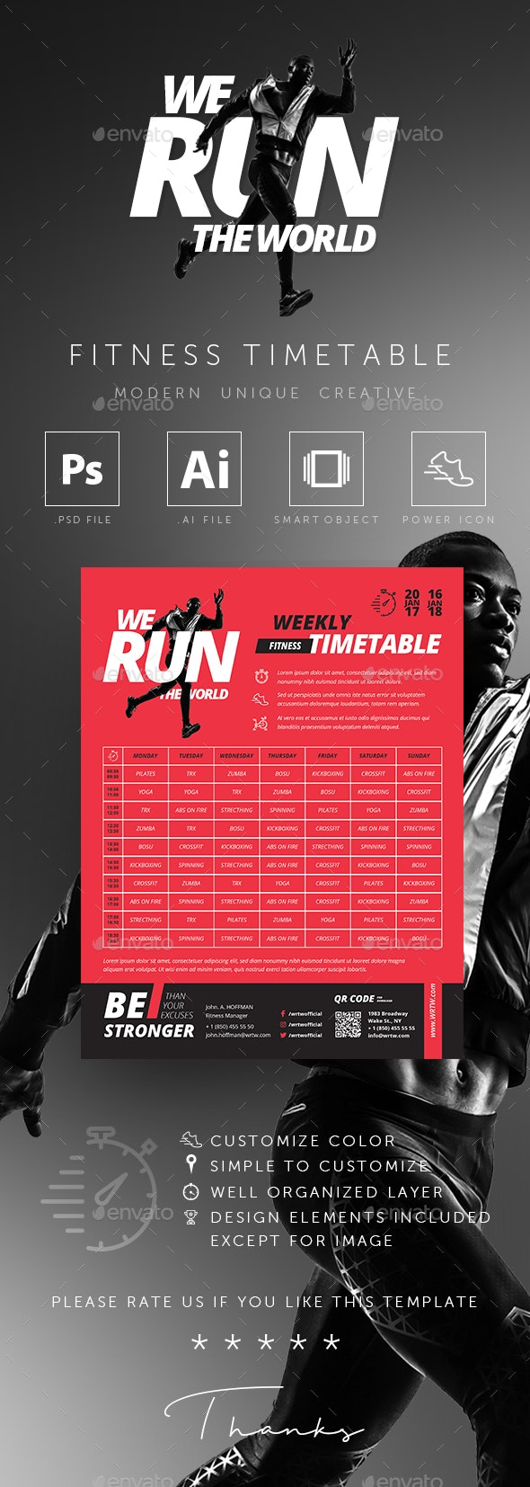 Fitness GYM Group Class Timetable Templates - Sports Events