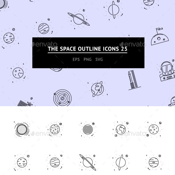 The Space Outline Icons 25