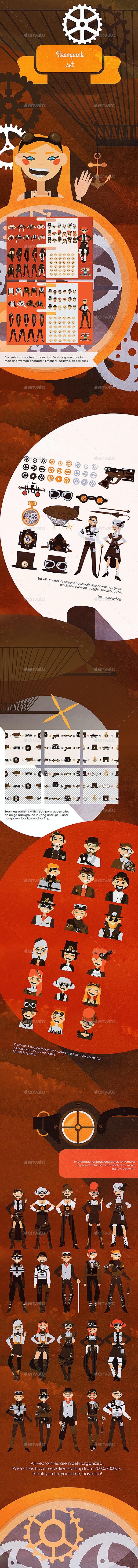 Steampunk Vintage Set - People Characters
