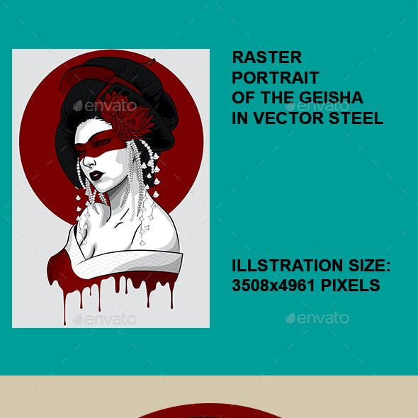 Raster Portrait of Geisha in Vector Style