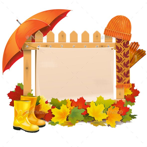 Wooden Fence with Autumn Leaves