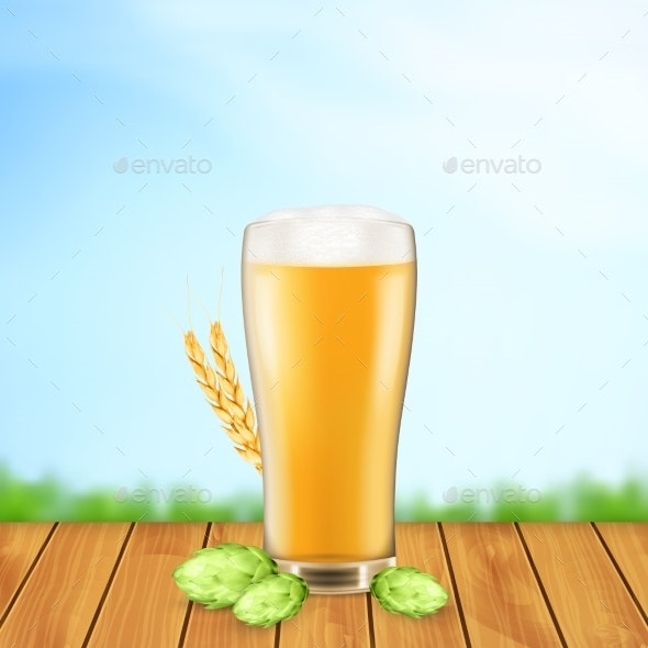 Beer Glass with Hop Plant and Wheat - Food Objects