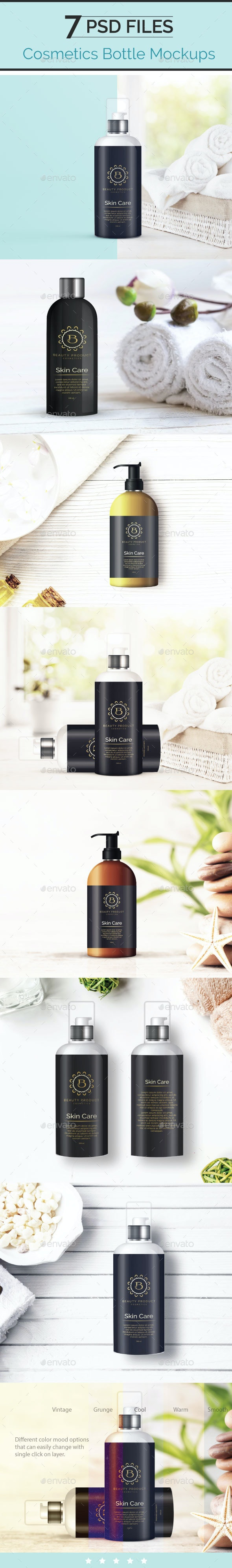 Cosmetic Bottle Mockup, Shampoo and Oil Bottle - Beauty Packaging