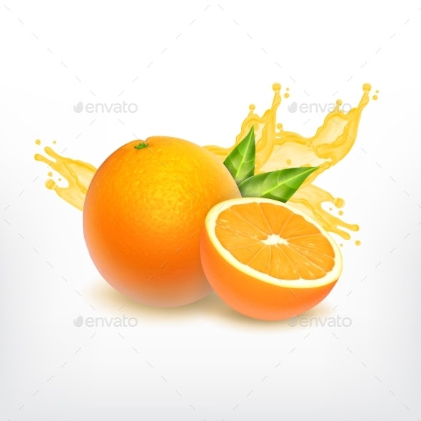 Orange Fruit and Juice Splash - Food Objects