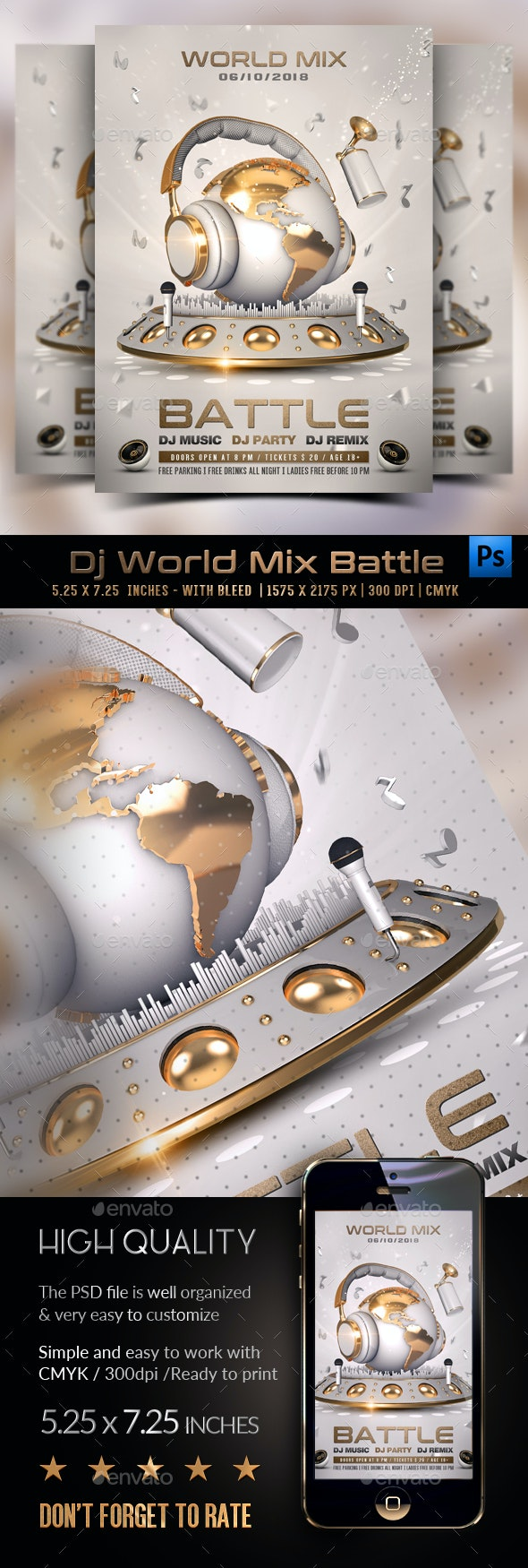 DJ World Mix Battle Template - Clubs & Parties Events