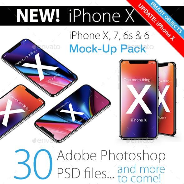 Phone X, 7 & 6s Mockup Pack