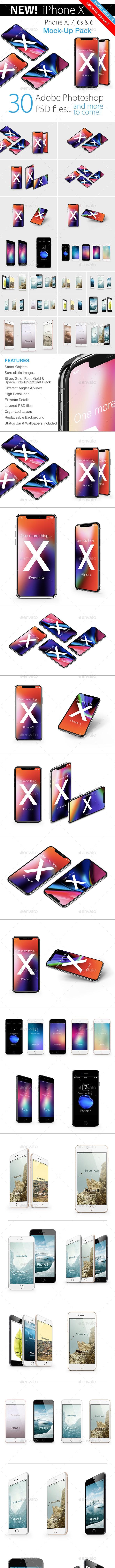 Phone X, 7 & 6s Mockup Pack - Mobile Displays