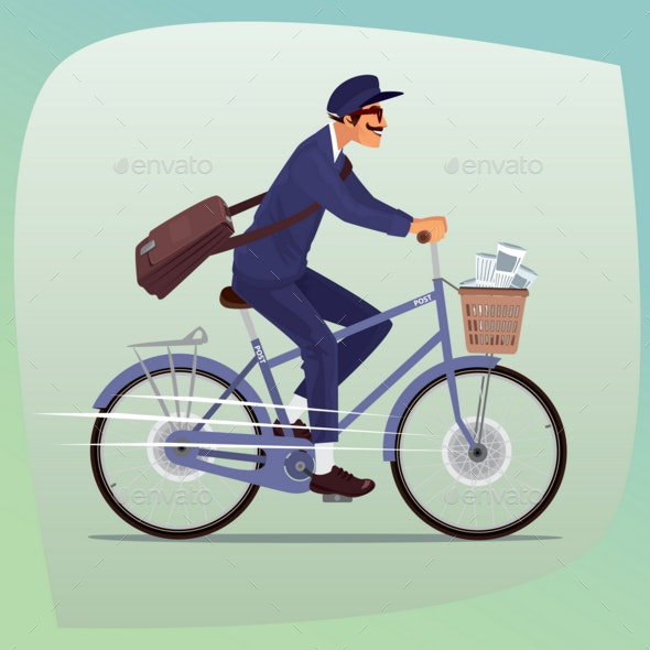 Adult Funny Postman Rides on Bicycle - Man-made Objects Objects