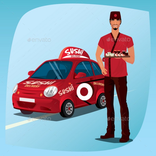 Asian Man with Sushi and the Car - Man-made Objects Objects