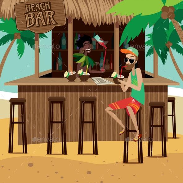 Man at Beach Bar Drinks Exotic Cocktail - Seasons/Holidays Conceptual