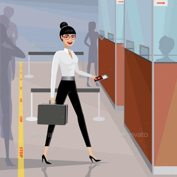 Business Woman Pass the Passport Control