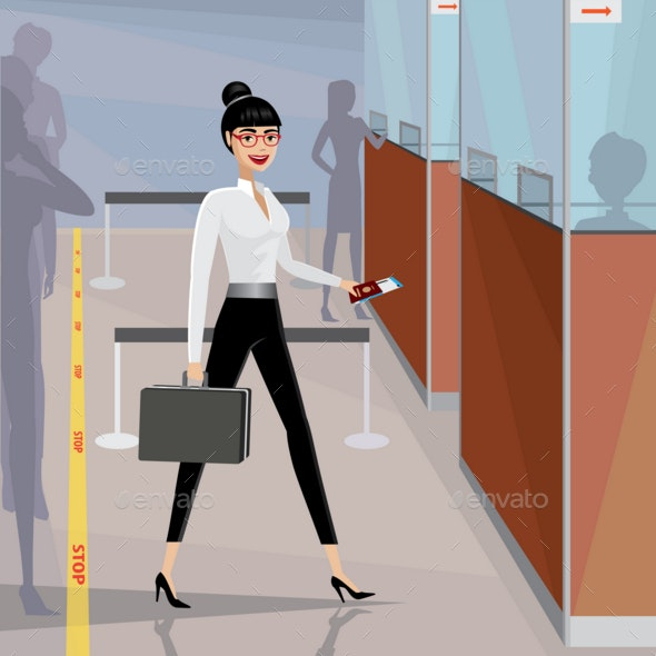 Business Woman Pass the Passport Control - People Characters