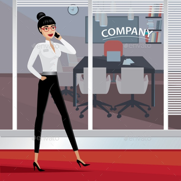 Business Woman Walking Around the Office - People Characters