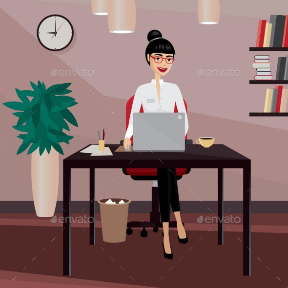 Business Woman Working at Workplace - People Characters