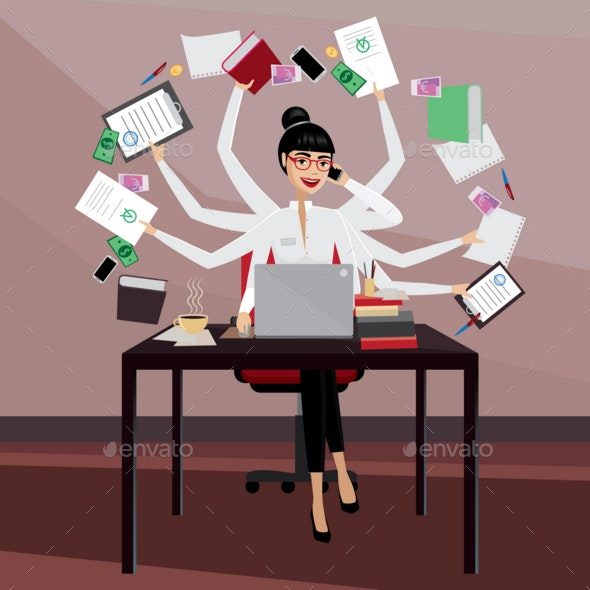 Busy Business Woman - Business Conceptual