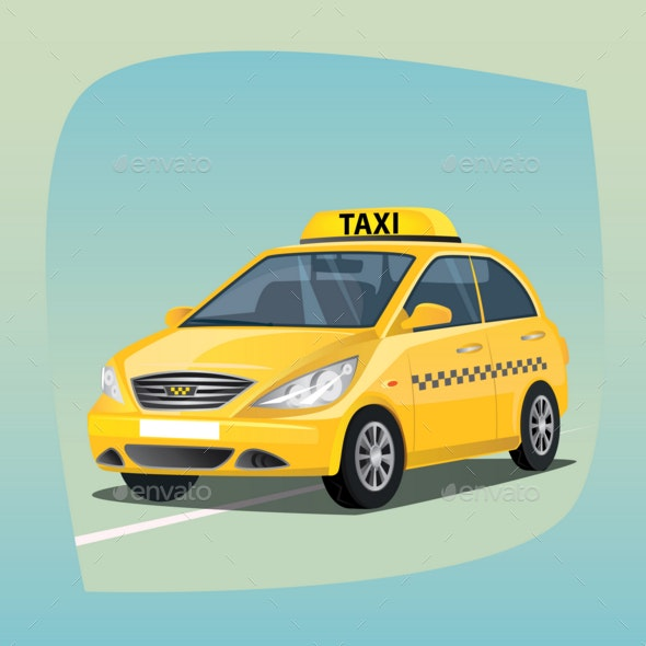 Isolated Yellow Taxi Car - Man-made Objects Objects