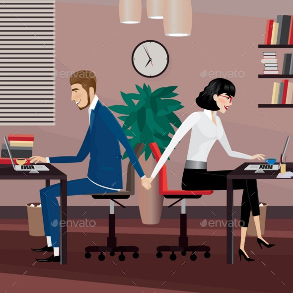Love Affair at Work - Business Conceptual