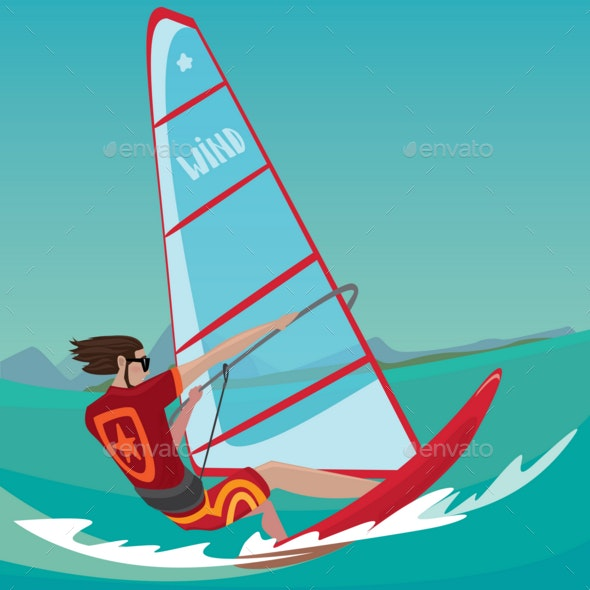 Man Is Engaged in Windsurfing - Sports/Activity Conceptual