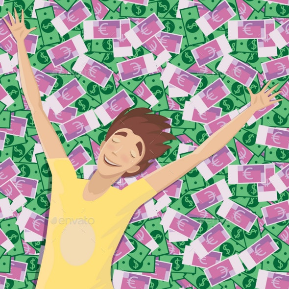 Man Asleep on a Pile of Money - People Characters