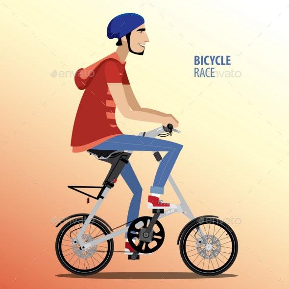 Man on Fashionable Folding Bike - People Characters