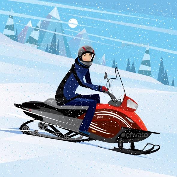 Man Riding on a Snowmobile - Sports/Activity Conceptual