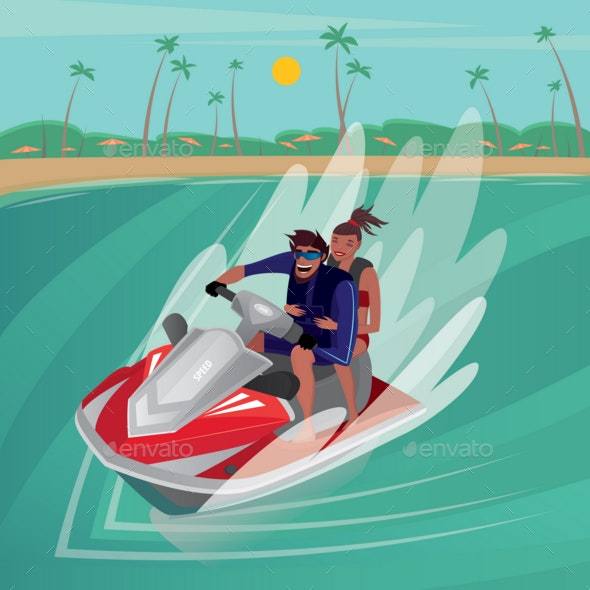 Couple on a Water Scooter - Sports/Activity Conceptual