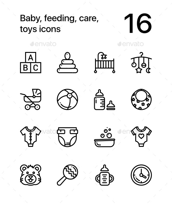 Baby, Care, Toys Icons for Web and Mobile Design Pack 1
