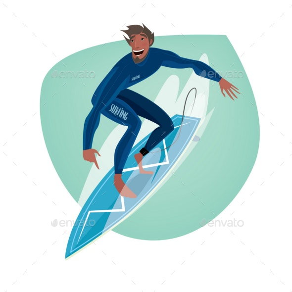 Man on a Surfboard - Sports/Activity Conceptual