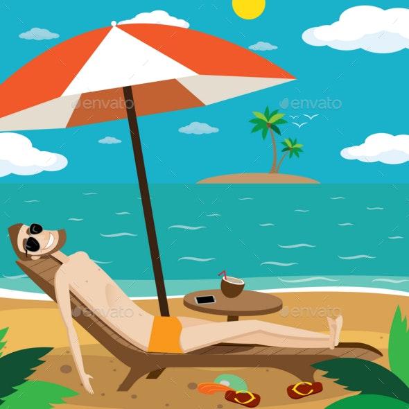 Man Sunbathing on the Beach - Food Objects