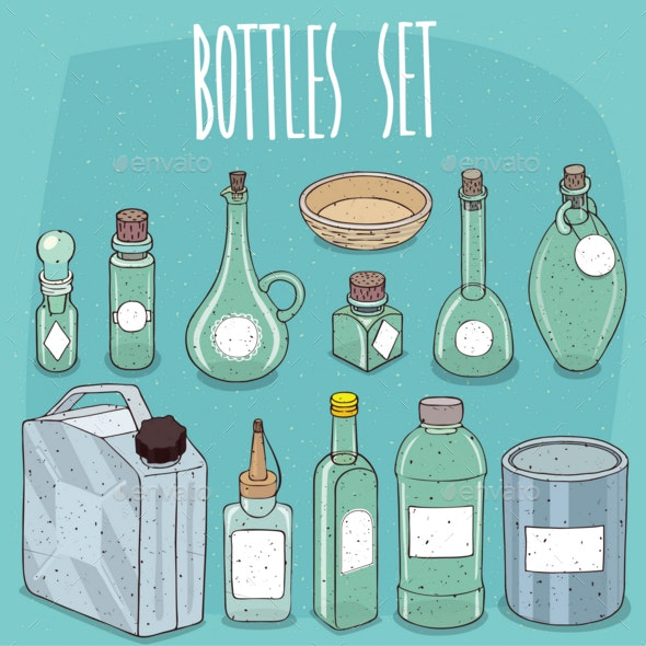 Mockup Set Different Empty Transparent Containers - Miscellaneous Vectors