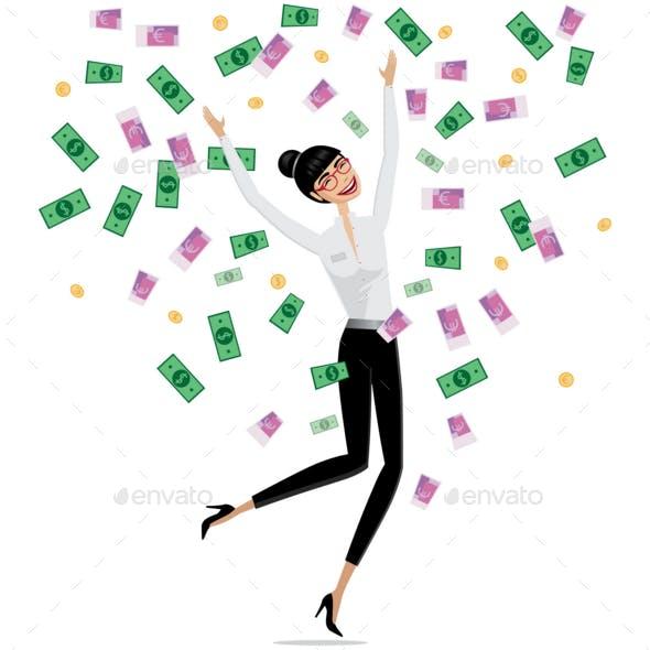 Money Falling on Business Woman