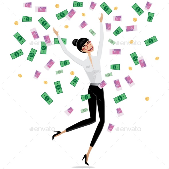 Money Falling on Business Woman - People Characters