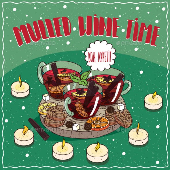 Mulled Wine in Mugs with Sweets and Cookies