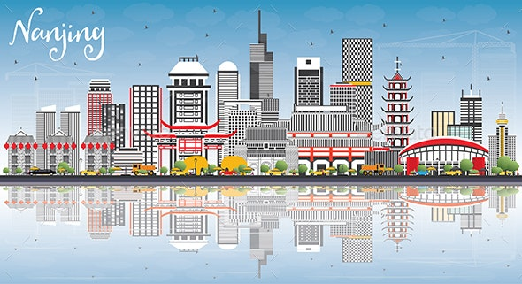 Nanjing China Skyline with Gray Buildings, Blue Sky and Reflections - Buildings Objects