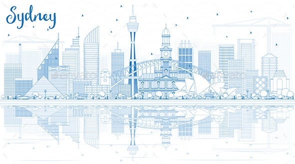 Outline Sydney Australia Skyline with Blue Buildings and Reflections - Buildings Objects