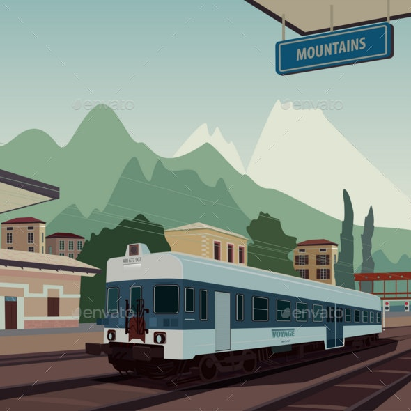 Old Train at Railway Station of European Town - Miscellaneous Vectors