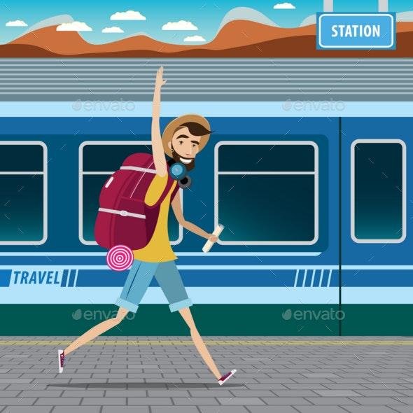 Backpacker at the Railway Station - People Characters
