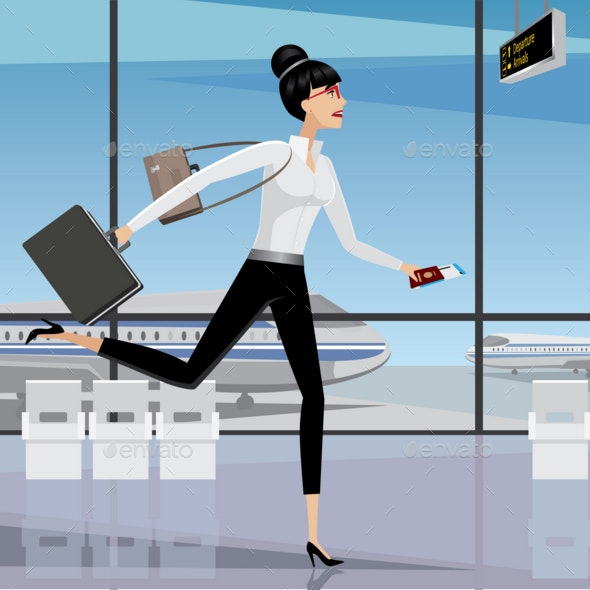 Business Woman Late for the Plane - Man-made Objects Objects