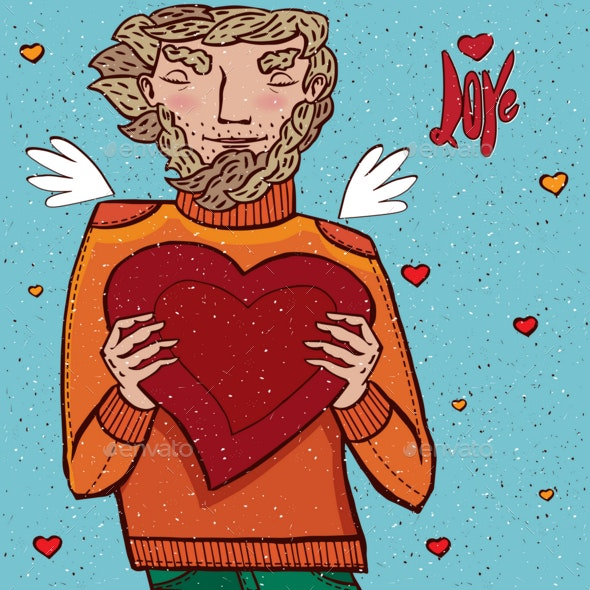 Man Holds Heart - People Characters