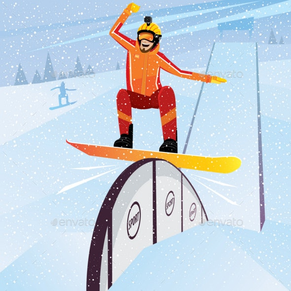 Extreme Athlete Moves Down on a Snowboard - Sports/Activity Conceptual