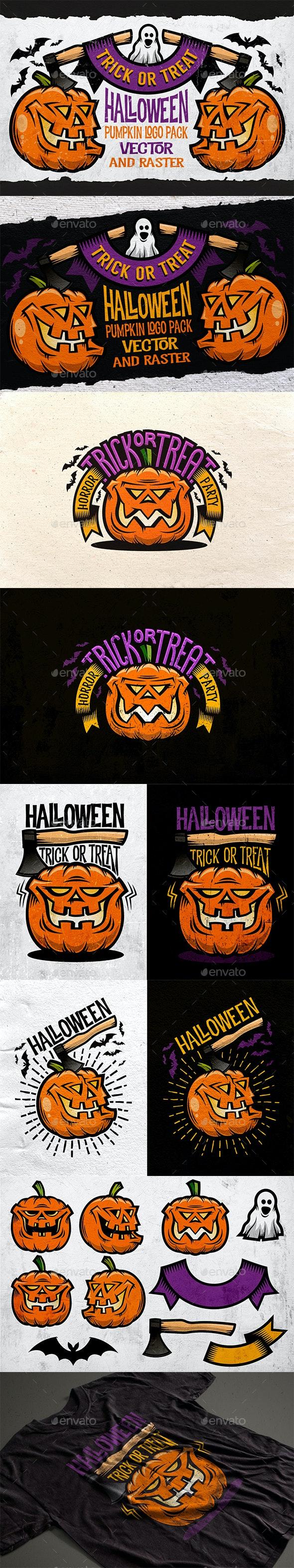 Halloween Pumking Logo Set - Halloween Seasons/Holidays