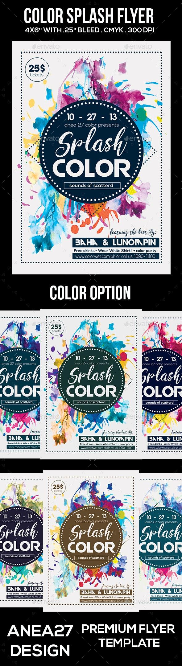 Splash Color Flyer - Clubs & Parties Events