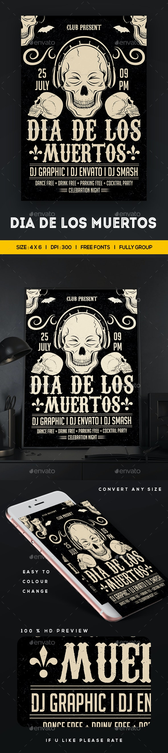 Dia De Los Muertos Flyer - Clubs & Parties Events