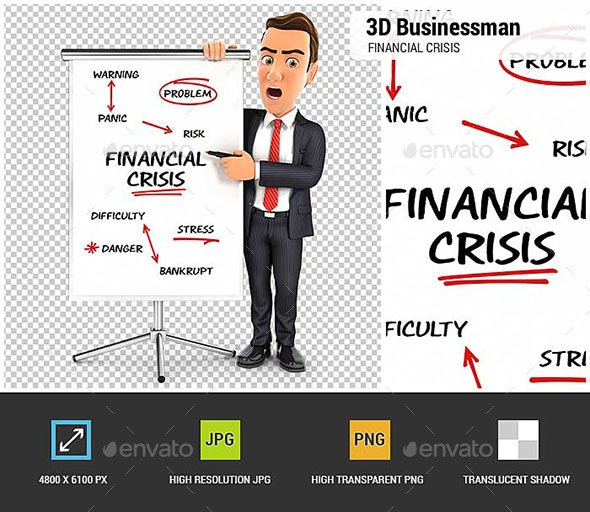 3D Businessman Writing Financial Crisis on Paperboard - Characters 3D Renders