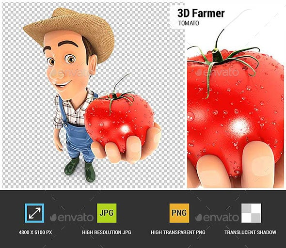 3D Farmer Holding a Fresh Tomato - Characters 3D Renders